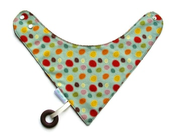 Baby Bandana Bib With an Attached Food Safe  Silicone Teether Colorful Circles Reversible  Minky Lined