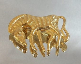 SALE Vintage Zebra Brooch Gold Tone