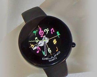 SALE Vintage De Juno Musical Violin Watch. Black Leather DeJuno Music Watch.  Ladies Black Watch.