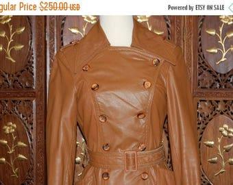 ON SALE Vintage 1970s Camel Colored  Full Length Leather Trench Coat  Sz 6