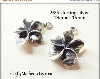 8% off SHOP-WIDE, One Bali Sterling Silver Plumeria Flower Charm, 18mm x 15mm, OXIDIZED, earrings, necklace, bracelet, artisan-made