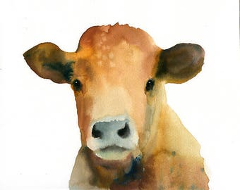 Cow Original watercolor painting 10x8inch