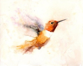 Hummingbird Original watercolor painting 10x8inch
