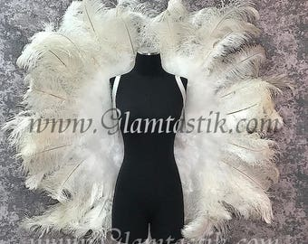 READY TO SHIP huge white ostrich angel wings for Halloween stage burlesque Pageant wedding sweet 16