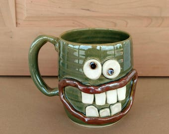 Gift for Him. Large Over 16 Oz Green Pottery Coffee Cup Man Husband Gift for Him Funny Big Smile Googly Eye Face Ceramic Stein.