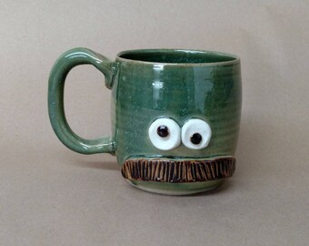 Dad's Mustache Mug. Pottery Ceramic Face Mug with Mustache. Speckled Green. Fun Man Gift. Uptight Witty Coffee Cup. Unique Gifts.
