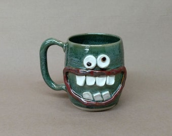 Funny Dieters Face Mug. Keto Diet Coffee Cup and Mugs. Nelson Studio Stoneware Pottery. Big 20 Ounce Ug Chug Mug. Green Clay Pottery Dish