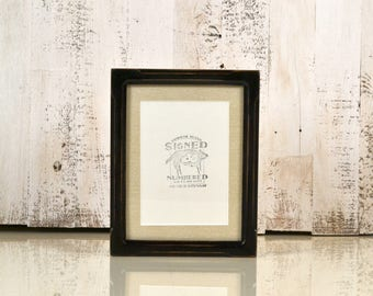 7x9 Picture Frame with mat for 5x7 Photo in Shallow Bones Style with Vintage Black Finish - IN STOCK - Same Day Shipping - 7 x 9 or 5 x 7