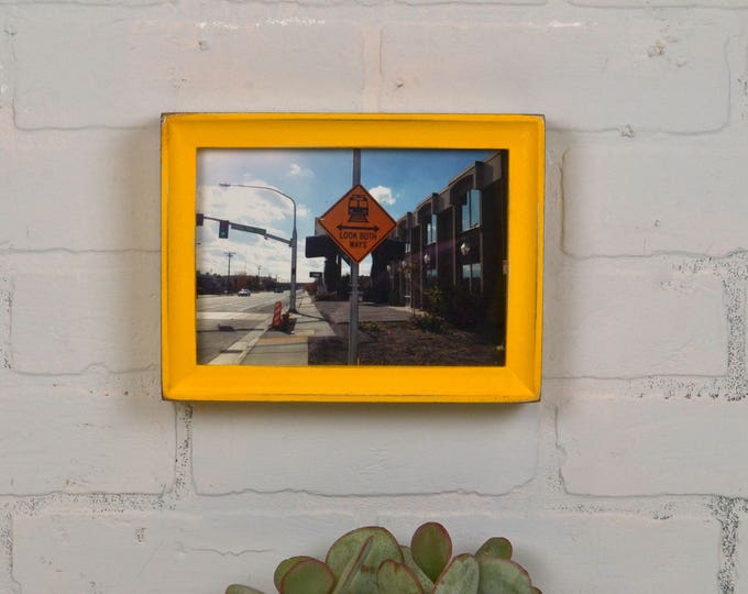 5x7 Picture Frame in Foxy Cove Style with Vintage Buttercup Yellow Finish - IN STOCK - Same Day Shipping - 5 x 7 Frame Solid Hardwood Rustic
