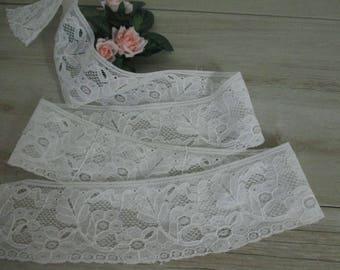 1-1/2 Yards Vintage French Curved Lace Trim Antique Lace Trim Cotton White