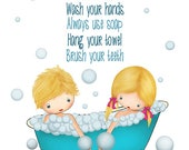 Kids Bathroom Wall Poster,Artwork for the Bathroom,Bathroom Rules Quotes, Boy Girl Bath Art Print,Turquoise Teal White Wall Art Picture Baby