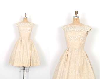Vintage 1950s Dress / 50s Metallic Embroidered Party Dress / Gold ( XS extra small )