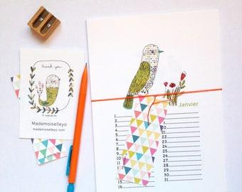 Birthday Calendar - birds, flowers, botanical illustrations, perpetual birthday calendar, illustrated calendar, perpetual wall calendar