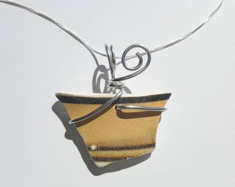 Banded Mocha Brown stripes Sea Pottery Necklace handmade with sterling Chain and silver aluminum