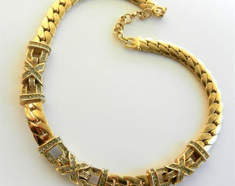 Exclusive Gold Plated Swarovski accents Grosse signed choker necklace , quality high-end jewelry by Henkel and Grosse-Art.902/4-