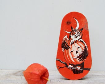 Antique Litho Tin Halloween  . Noise Maker. Vintage . Owl & Pumpkin Tin . Vintage Halloween .  Collectible . Made In USA