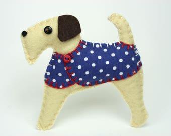 Felt Christmas ornament, Felt dog ornament, Dog Christmas Ornament, Handmade felt Airedale terrier, Fox terrier, Terrier ornament, Dottie