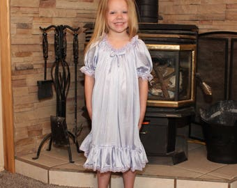 Peasant Gown - Lavender w/Lavender Lace - Toddler and Girls Sized Tricot Pajamas - Pick A Color!
