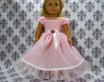 18 inch doll clothes made to fit dolls such as American Girl, Pink Lace Party Fancy Gown Dress, 6-2136