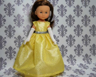 13 inch doll clothes made to fit dolls such as Corolle Les Cheries doll clothes, Yellow Silver Fancy Princess Dress, 06-2180