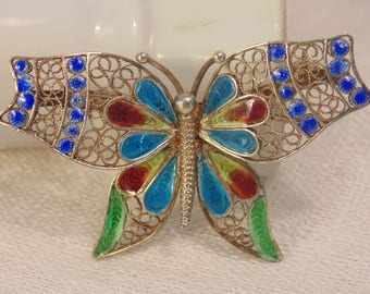 Chinese Export Silver Enamel Filigree Butterfly Brooch 800 Silver Brooch Enamel Brooch Chinese Enamel Brooch Plique a Jour