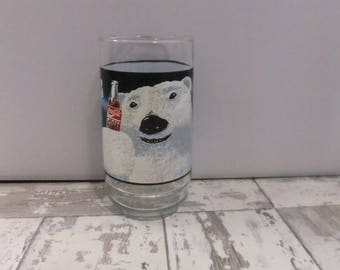 Vintage Coca Cola Glass Tumbler Polar Bear Coke Collectibles Glasses Always Cool 16 oz 1990's Water Glass Soda