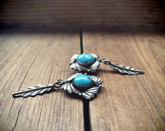 Feather Earrings Silver Turquoise Jewelry Native American Indian Jewelry, Feather Jewelry