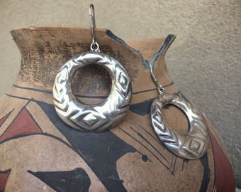 Vintage Taxco Earrings Sterling Silver Repousse Dangle Hoops, Mexican Silver Earrings