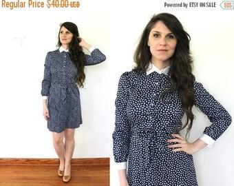 ON SALE 70s Blue Secretary Dress / 1970s Dress / 1970s Bow Novelty Print Mini Dress