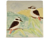 Kookaburra wall tile ceramic hand crafted landscape painting wall art plaque