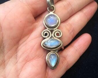 Moonstone Pendant - Sterling Silver - Vintage