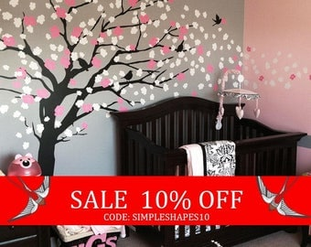 Summer Sale - Wall Decals Nursery, Cherry Blossom Tree Decal, Wall Decal Tree, Wall Decals for girls