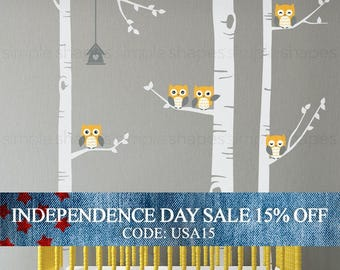 Independence Day Sale - Birch Tree Wall Decal, Birch Tree With Owls Wall Sticker Set, Birch Tree Decal, Baby Nursery Wall Stickers W1118
