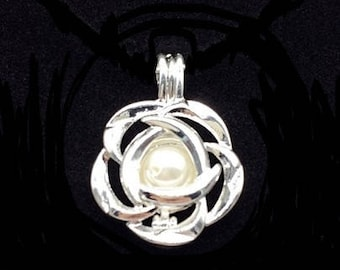 Flower Silver Pearl cage - QTY 3 Pieces - Silver locket charm pendant pearl setting