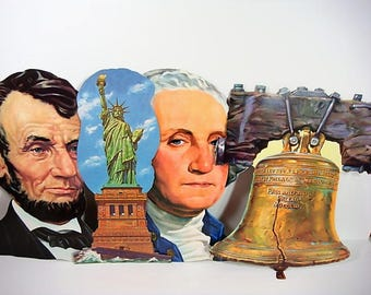 President's Day Die Cut Bulletin Board Cut Outs Large Washington Lincoln Statue of Liberty Liberty Bell