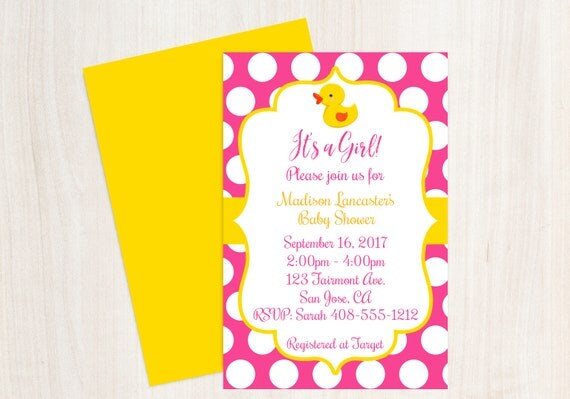 Pink and Yellow Duck Baby Shower Rubber Ducky Baby Shower