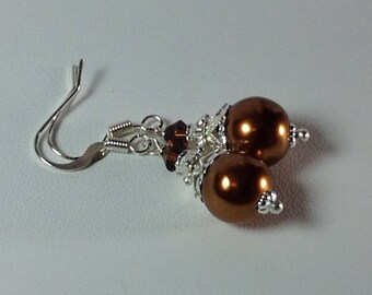 Copper Glass Pearl Bridesmaid Earrings
