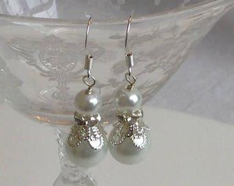 White Pearl Designer Bridal Earrings