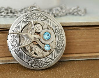 steampunk locket necklace, steampunk jewelry, SILVER SPRROW LOCKET, antiqued silver photo locket necklace, watch movement locket