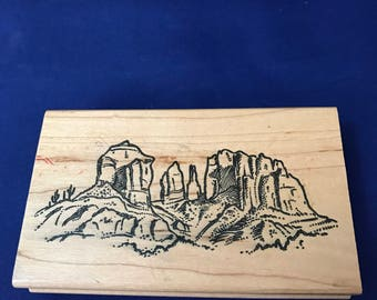Vintage Desert Mountains Scene Rubber Stamp, Cactus