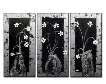 Abstract Painting, Original Abstract Art, Modern Canvas Art, Contemporary textured Floral Metallic Painting by Henry Parsinia Large 36X24