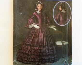 1860s Civil War dress pattern, designer reproduction, uncut sewing pattern, reenactment day dress costume Simplicity 4510, Misses 8 10 12 14