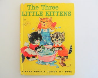 1960's Three Little Kittens book, Rand McNally Elf vintage book, baby room decor, cute illustrations craft supply, kitten picture story book