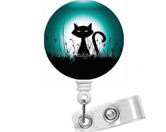 Spooky Black Cat - Teacher Badge Holder - Nurses Badge Holder - Halloween Badge - Nursing Badge Holder - Holiday Badge Reel - Gift under 10