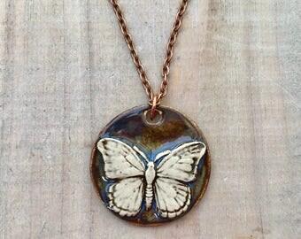 Butterfly Necklace Pendant-Porcelain Jewelry-Kim OHara Designs-Ceramic Jewelry