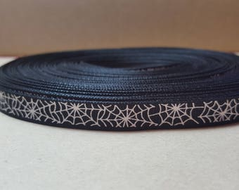 "3/8"" Black On White Spider Web Grosgrain Ribbon Halloween Decorate Party Crafts Trick-or-Treat Holiday October"