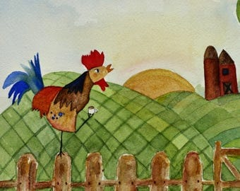 Rooster, farm, coffee original watercolor, whimsical, kitchen art, green and brown, bird on farm, good morning, hills, tea, barn, beans