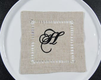 "4 "" No Iron"" Monogrammed Cocktail Napkins"