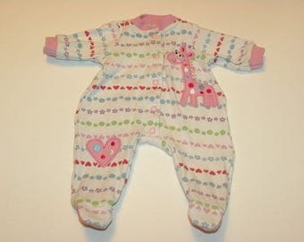 White Patterned Footed Sleeper - 16 - 17 inch doll clothes