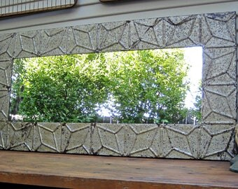 Tin ceiling tile mirror. 4'x2'.  Antique architectural salvage. Old chippy silver paint. Industrial decor.  Bathroom bedroom wall mirror.